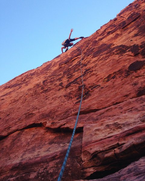 Leading a climb in Red Rock Canyon.