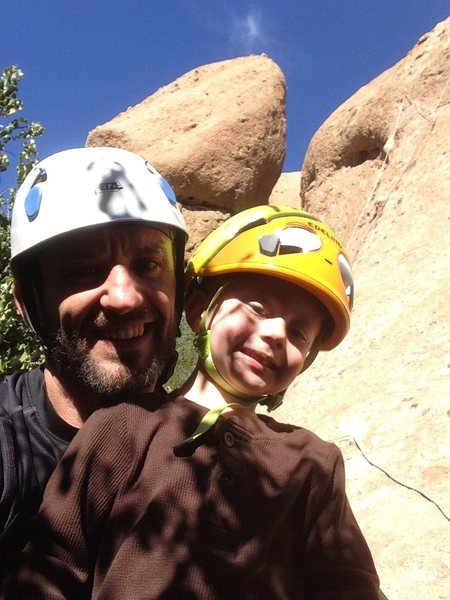 Hyperion Slab with my climbing buddy. The Egg in the background.