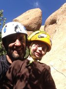 Rock Climbing Photo: Hyperion Slab with my climbing buddy. The Egg in t...