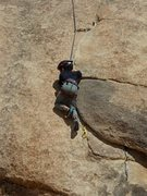 Rock Climbing Photo: Getting into the flake is the crux