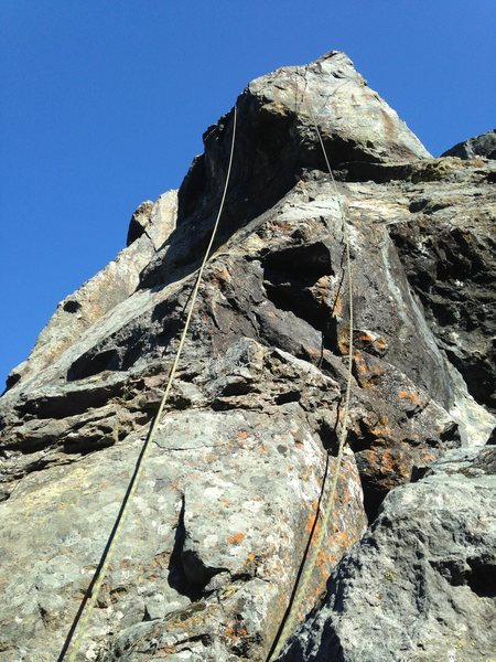 Rock Climbing Photo: 11.b TR over the main bulge roof.  Shoelace Joe V4...
