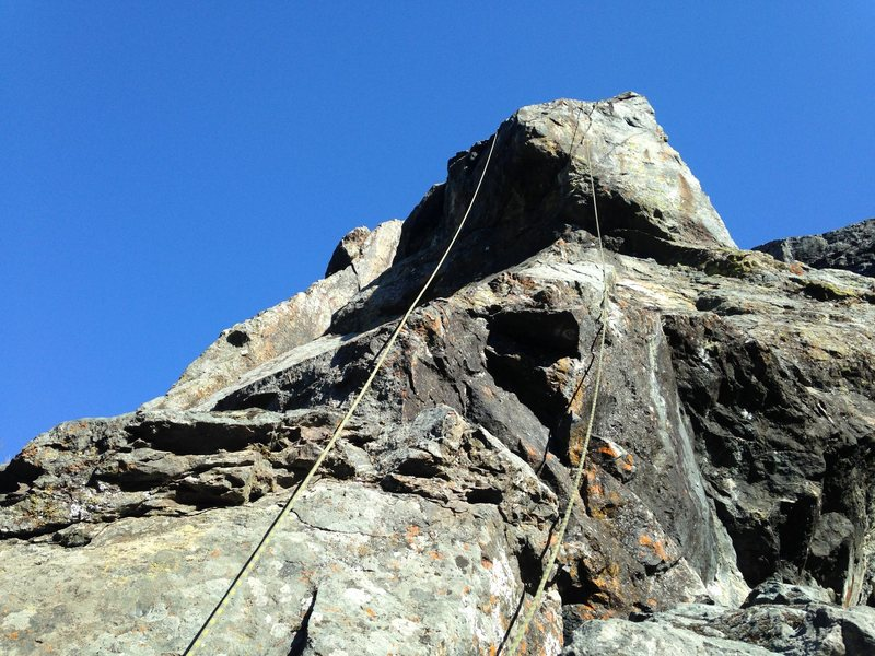 Rock Climbing Photo: Face 5.8 to the left upper roof. Tons of Variation...