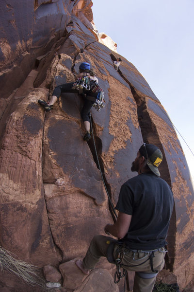 Rock Climbing Photo: Sarah gettin her lead on Brodie Machine! Kelsey in...