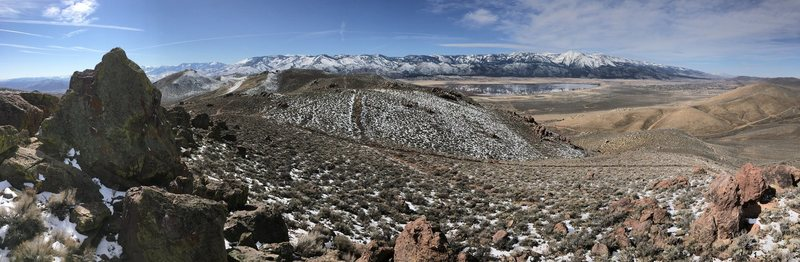 Beautiful February day at the Washoe Boulders! Photo taken looking West towards Washoe Lake and Mt. Rose wilderness area.