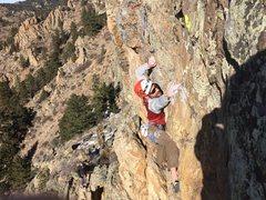 Rock Climbing Photo: Hofer above the crux.