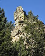 Rock Climbing Photo: Beta for Cenotaph Spire routes, as seen from the r...