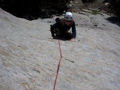 Rock Climbing Photo: Jen following the first pitch of Oh My Gosh