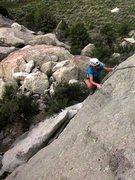 Rock Climbing Photo: Jen cresting the last steepness on Slab Happy