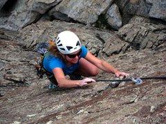 Rock Climbing Photo: Jen smilin' near the top of Get Your Fixe