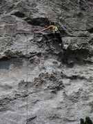Rock Climbing Photo: Annie Smoot on the first pitch of High Road