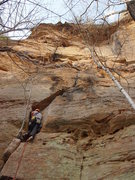 Rock Climbing Photo: The cruxy offwidth section down low. Takes good ge...