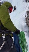 Rock Climbing Photo: Justin heading up P1.