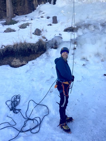 First day ice climbing, just after rapping down.