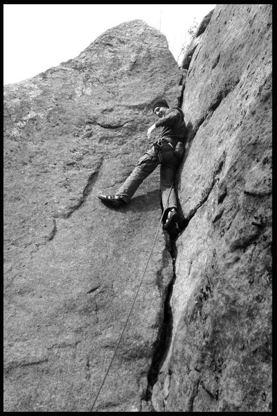 Rock Climbing Photo: Me, leading cornered