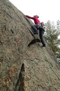 Rock Climbing Photo: Stepping in to the committing finish