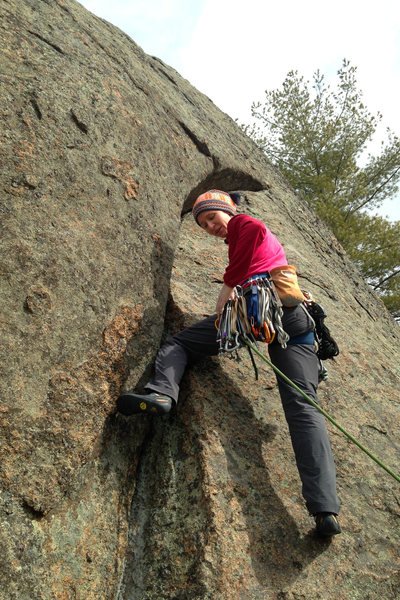 Torie leading in to the pretty arching crack.