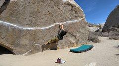 Rock Climbing Photo: Struggling on the iron man traverse