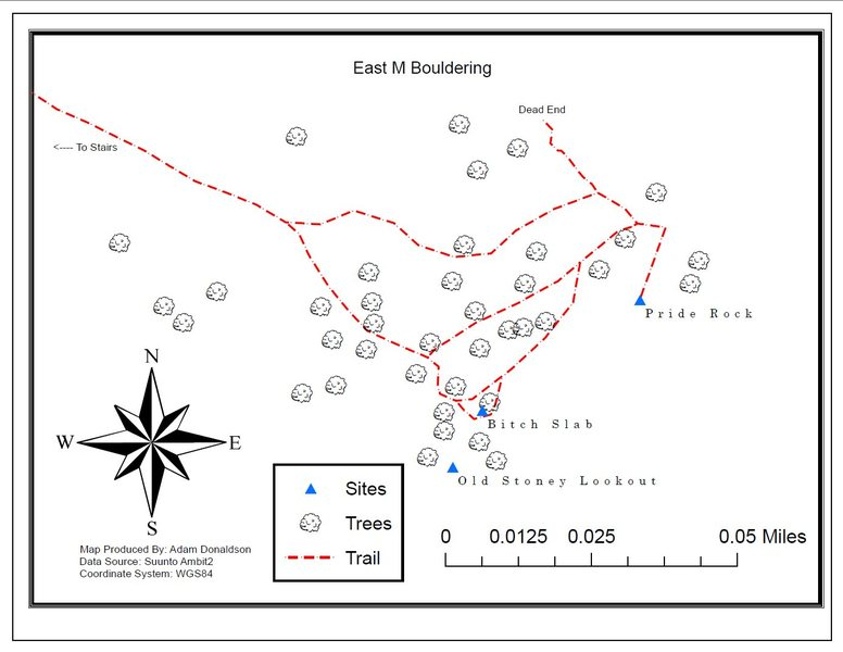 This is a map of bouldering east (right) of the M.