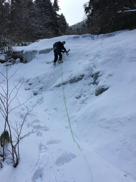 Leading the fourth pitch, Crescent Gully, East Face Celo Peak February 2016