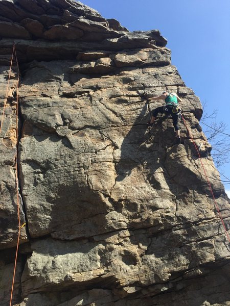 My gf leading her first 5.8, i told her it was 5.7 oops, oh well she sent it.