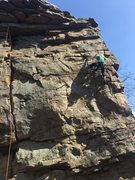 Rock Climbing Photo: My gf leading her first 5.8, i told her it was 5.7...