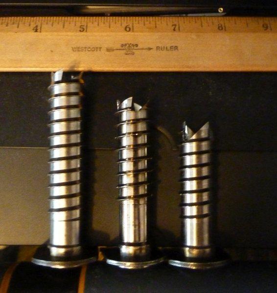 L to R: 10 cm screw, 8 cm, 6 cm