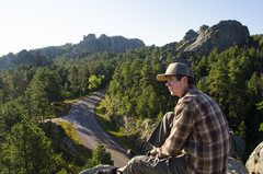 Rock Climbing Photo: Mikey enjoying his morning coffee just above the c...