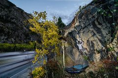 Rock Climbing Photo: The route is very close to I-70.