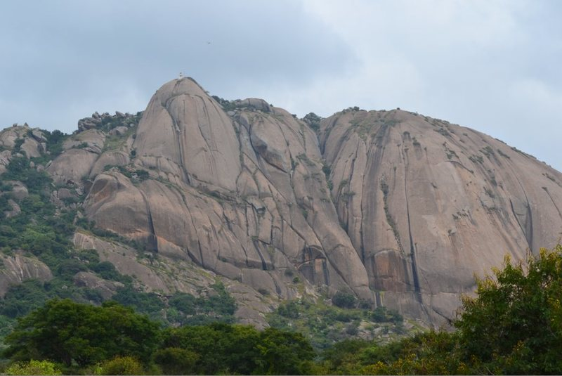 Savandurga Hill. Most of the routes currently go up the bigger dome on the right.<br> <br> Photo: Bangalore Getaways