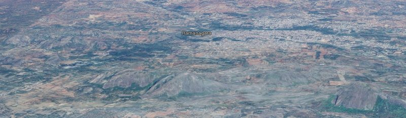 Google Earth image of the Ramanagara area. For scale, the bigger granite hillocks in the picture are over 500' tall.