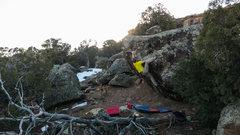 Rock Climbing Photo: Heeling the good edge on Taradiddle.