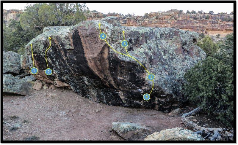 Rock Climbing Photo: Taradiddle problem beta, number 4.