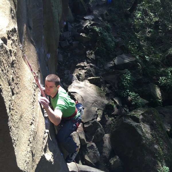 Trying to find the perfect spot on the thin and bad crimp of the start to the 2nd crux. Pic by Sean Da Costa