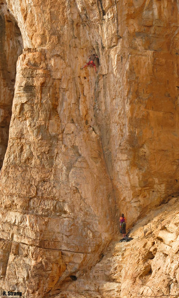 Jay Christie arrives at the 1st pitch chains of the starting pitch(5.9+)to<br> Bella Donna/GlueFa 5.9+/5.13