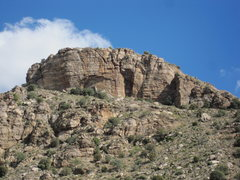 Rock Climbing Photo: From the highway below the cliff. Park the same as...