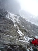 Rock Climbing Photo: Little thin ice to get up to the ledge of Three Sh...