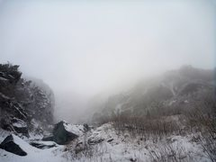 Rock Climbing Photo: Heading up Easy Gully, it's cold, it's damp, it's ...