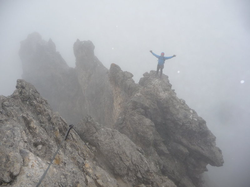 Chilling in the rain in the Dolomites.