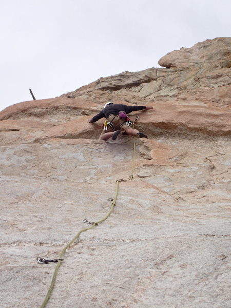 Dennis demonstrating the proper technique at the crux.