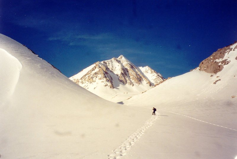 Mount Johnson in early spring of a good snow year.