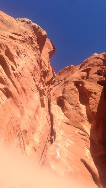 Rock Climbing Photo: View from right the bottom belay ledge of 3rd pitc...