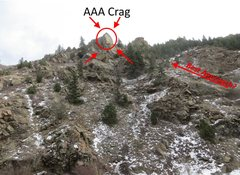 Rock Climbing Photo: AAA Crag overview. This is the view from the road,...