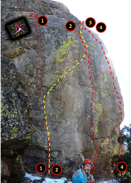 """North Face topo. <br> <br> Routes:<br> <br> 1. Albuquerque Isotopes.<br> 2. """"Unknown 1"""".<br> 3. Rusty Bridges.<br> 4. AAA."""