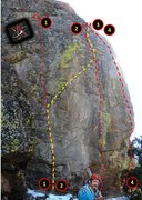 Rock Climbing Photo: North Face topo.   Routes:  1. Albuquerque Isotope...