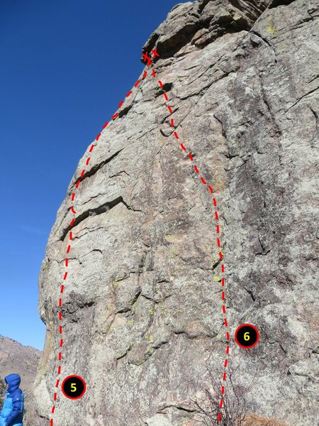 West Face topo.<br> <br> Routes:<br> <br> 5. &quot;Unknown 2&quot;.<br> 6. &quot;Unknown 3&quot;.