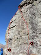 "Rock Climbing Photo: West Face topo.  Routes:  5. ""Unknown 2""..."