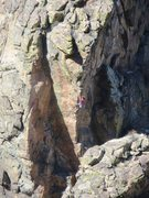 Rock Climbing Photo: Climber on The Hipster, as seen from the AAA Crag....