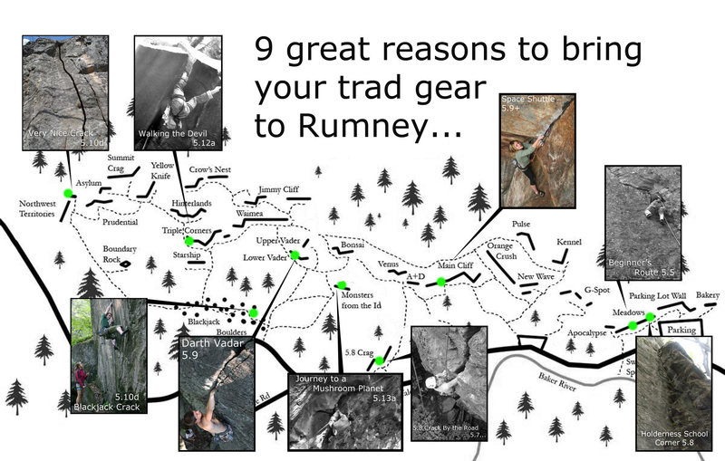 Just a selection of the sweet trad routes at Rumney. Of course sport climbing will always be king here, But on a busy day or if you are looking to witch things up... Here are a few ideas that are well worth the extra weight in the pack.