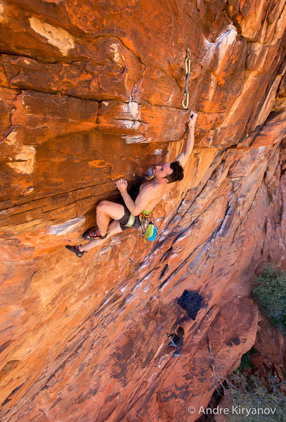 Scott Lunsford concentrating on the crux move