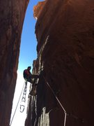 Rock Climbing Photo: Second pitch of Haagenschlong. I aided this pitch ...